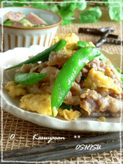 ◆スナップえんどうと卵の豚肉炒め◆の写真