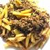合い挽き肉とジャガイモの炒め物