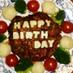 ❤誕生日にケーキ風ハンバーグ❤
