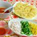 オクラとコーンの冷製トマトつけスパゲティ