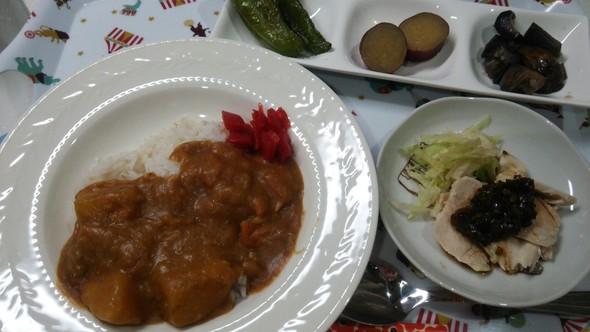 ルゥから手作りカレー×茹で鶏×野菜♡