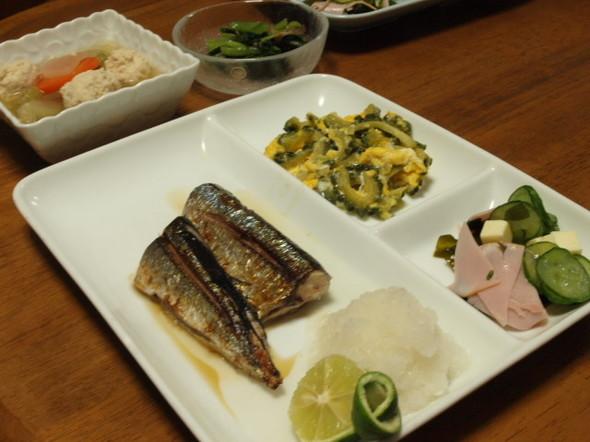 秋刀魚で晩ご飯(9/25)