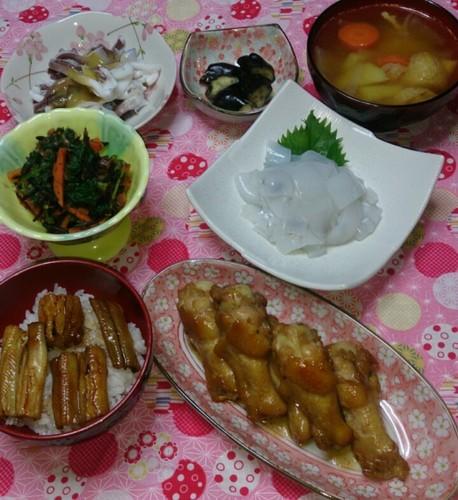夕食  手羽元の甘辛煮