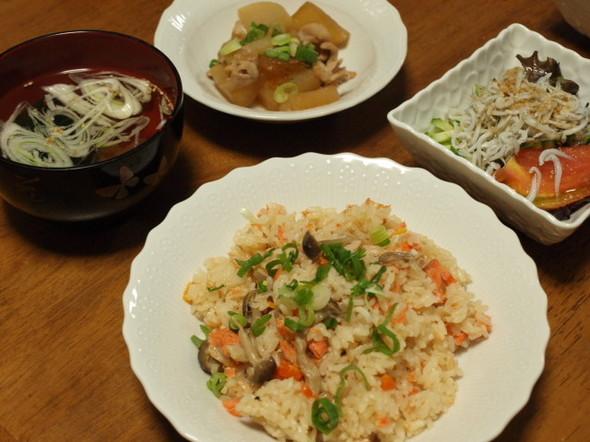 鮭とシメジのピラフで晩ご飯(10/18)