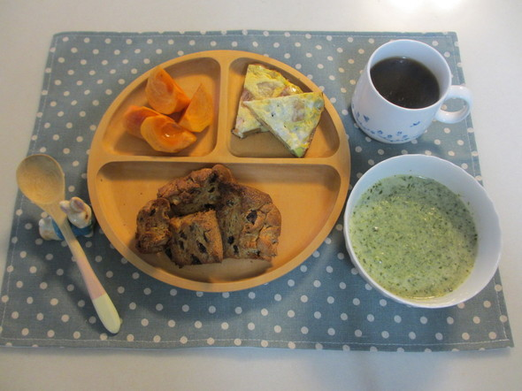 柿パン*枝豆と柿のオムレツ~朝ご飯~