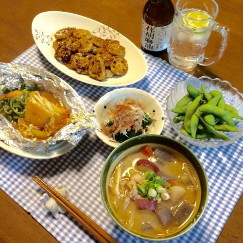 鮭のホイル焼き&豚汁の晩ご飯~♪