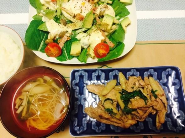 夕食*ごぼうと豚肉のごま炒め