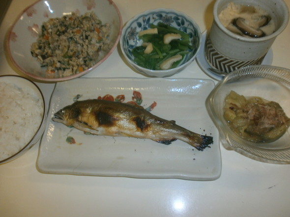 炒り豆腐の夕食