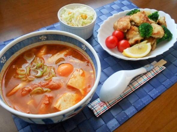 ☆スンドゥブチゲと鶏の唐揚げの晩ごはん☆