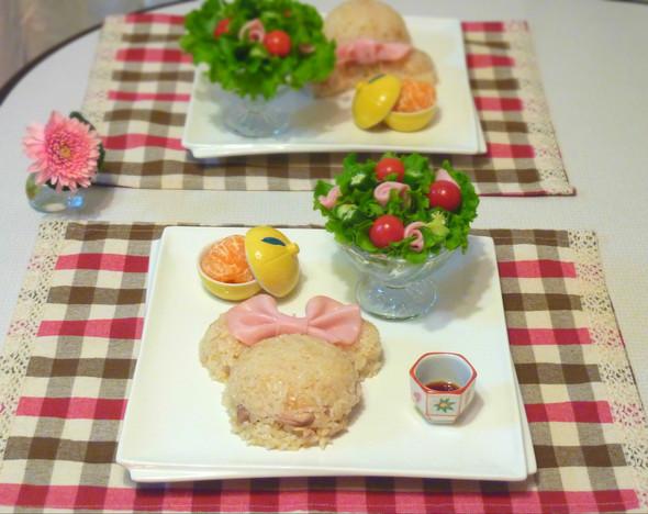 ミニーちゃん と ブーケサラダ
