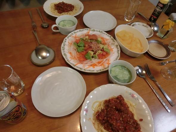 ボロネーゼパスタの夕ご飯