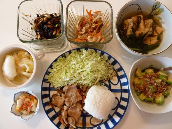 残り物と常備菜のランチ