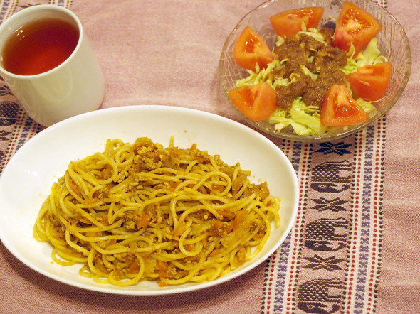 リメイク☆豆腐カレースパゲティで晩ごはん