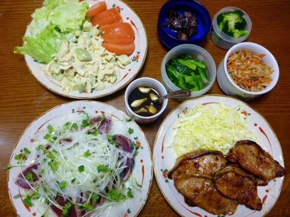 鰹のたたきと豚肉のバルサミコソテー