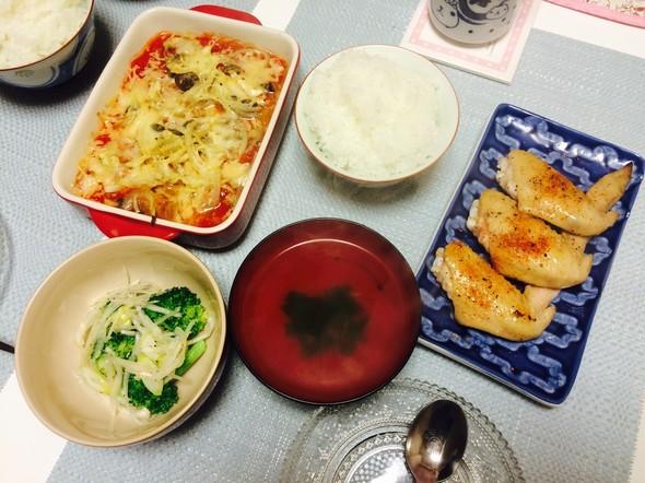 夕食*鶏手羽先の塩焼き