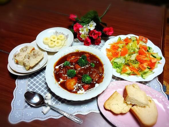 あやちんと私の新作レシピで晩御飯(^^)