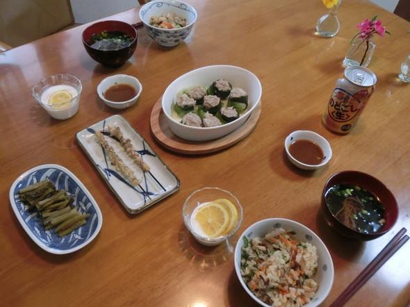 せりご飯と青梗菜焼売の夕ご飯