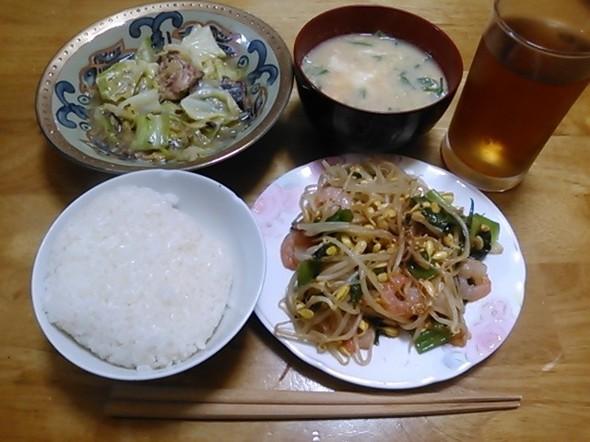 小えび中華炒め中心の夕食_160405