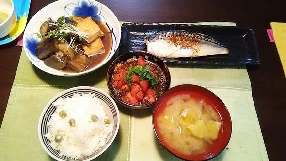 焼き鯖と豆ご飯 20160420