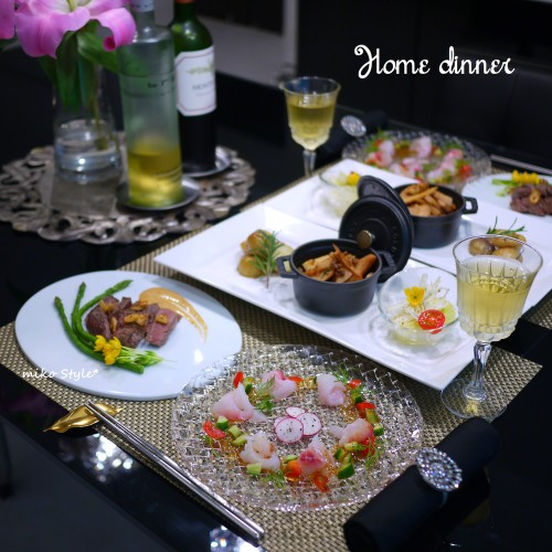 刺身カルパッチョ&春野菜のおかず