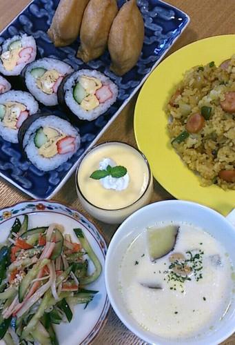お寿司と炒飯(笑)の晩ご飯♪