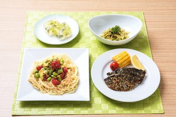 カッペリーニとアジの香草焼きの定食