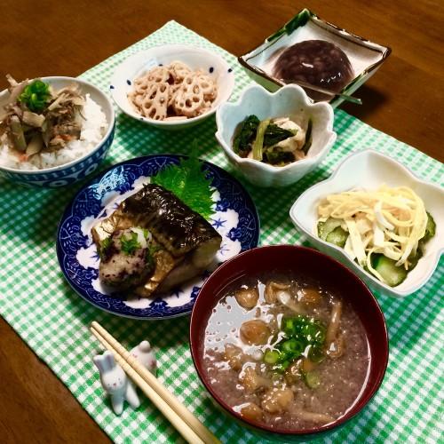 焼き魚の晩ご飯~♪