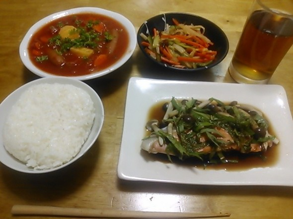 鮭のレンジ蒸し中心の夕食_160608