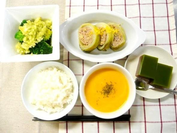 白菜ロールとキャロットポタージュの定食