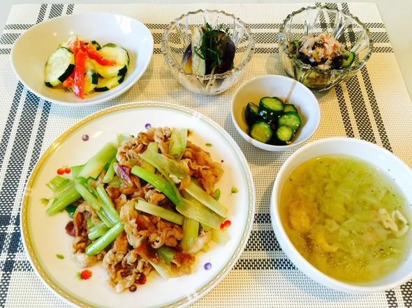 梅肉照焼きと冷菜の晩ご飯
