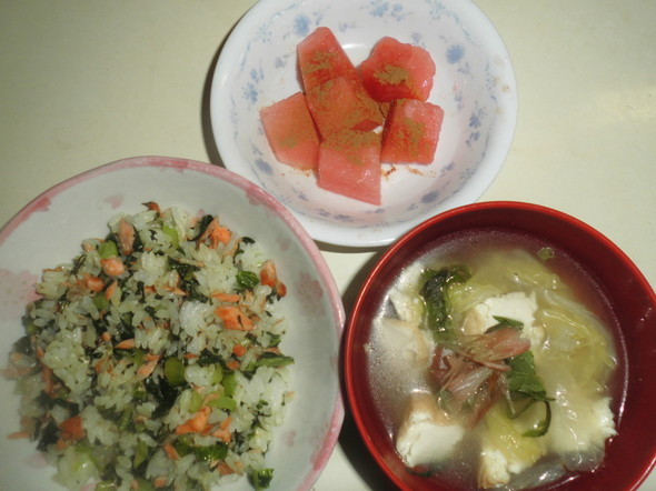 鮭と小松菜の簡単チャーハン