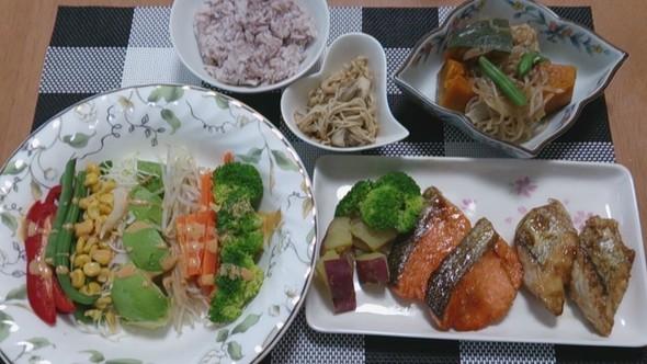 夕食 鮭&さわらの照り焼き