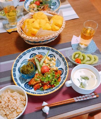 和洋な夕食☆豚ロースでステーキ♡