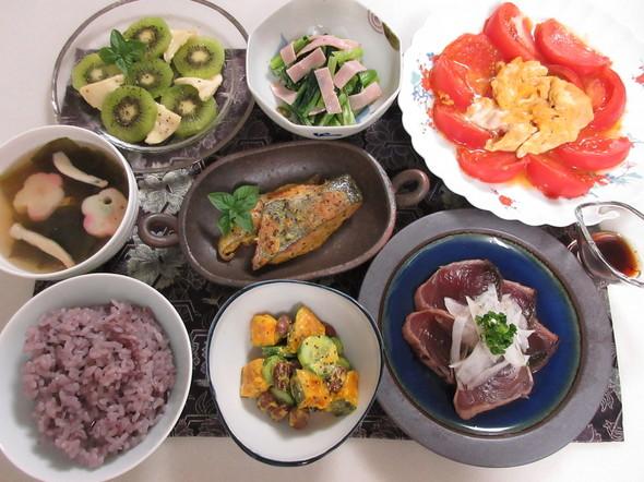 鮭のカレー風味のバジルピカタの晩御飯