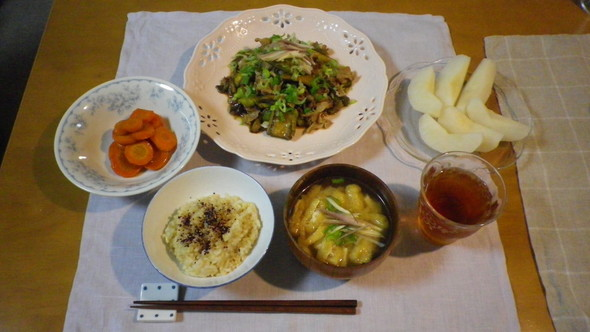 '16.9.9  茄子と豚肉の甘辛醤油煮