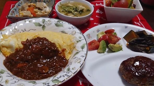 夕食 オムハヤシ&ハンバーグ