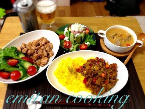 本日ゎタイ料理&カレーづくしの夕食❤