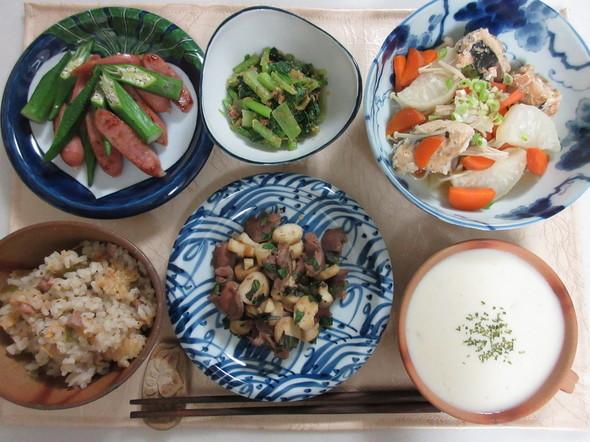 柿の洋風炊き込みご飯の晩ご飯