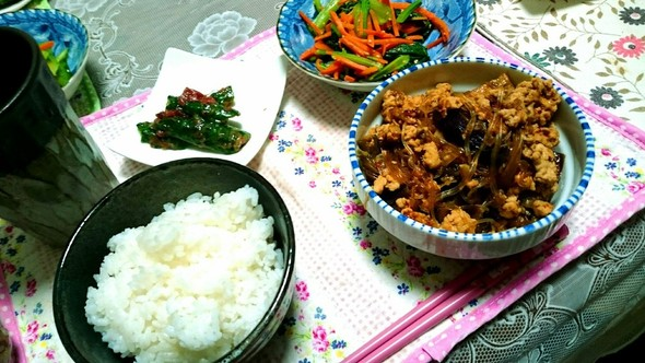 麻婆春雨定食な夕飯(*´∀`)