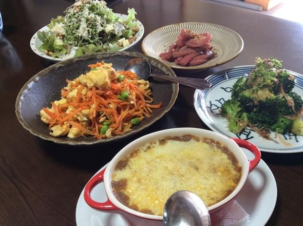焼きカレーと野菜でランチ