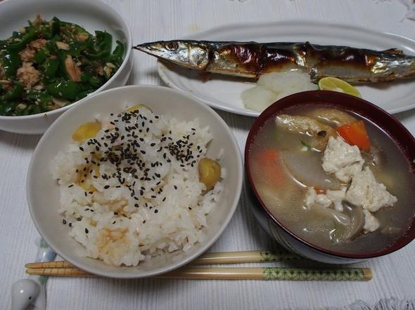 栗ご飯と焼きサンマ☆秋の晩御飯