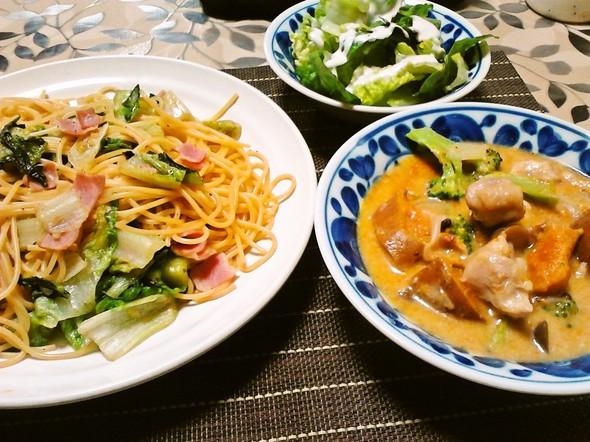 パスタで夕食