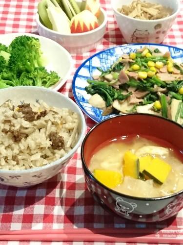 今日の晩ごはん☆牛肉の炊き込みご飯と…