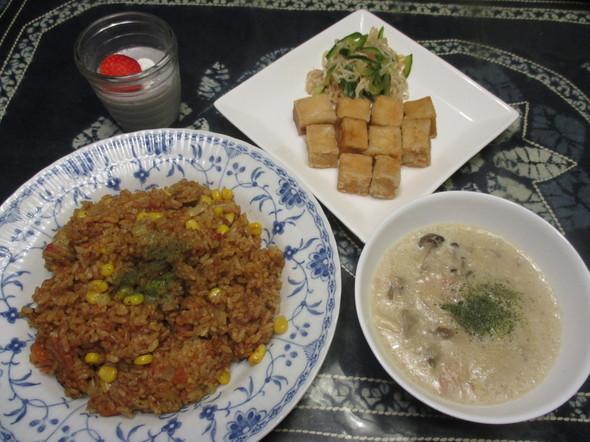 2016/12/5唐揚げ風とピラフで夕食