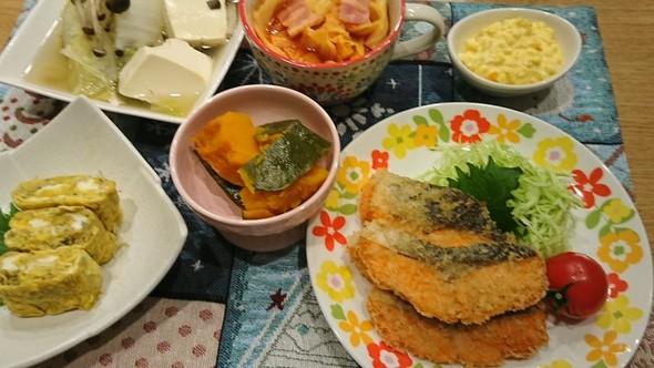 夕食 鮭のフライ