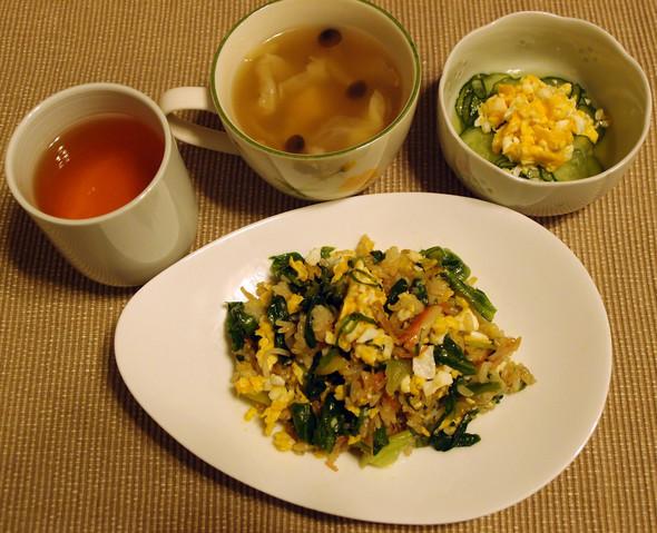 レタス炒飯とシャンタンスープで晩ごはん