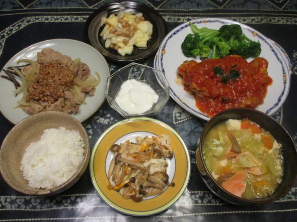 2016/12/28鶏のトマト煮で夕食