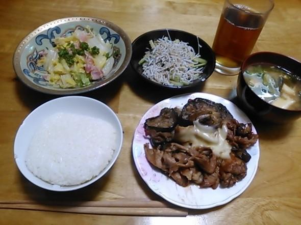 豚となす味噌炒め中心の夕食_170201