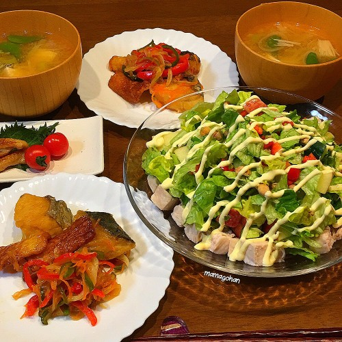 鰆と竹輪の南蛮漬け、炒り豆サラダ