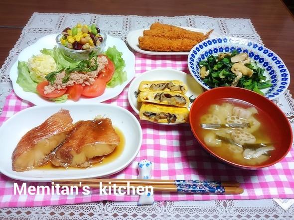 赤魚の梅干し煮&椎茸の含め煮オムレツ
